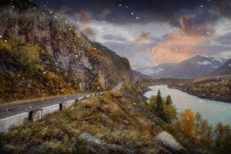 алтай, природа, снег, пейзаж, дорога, путешествие Снежная радость! Алтайphoto preview