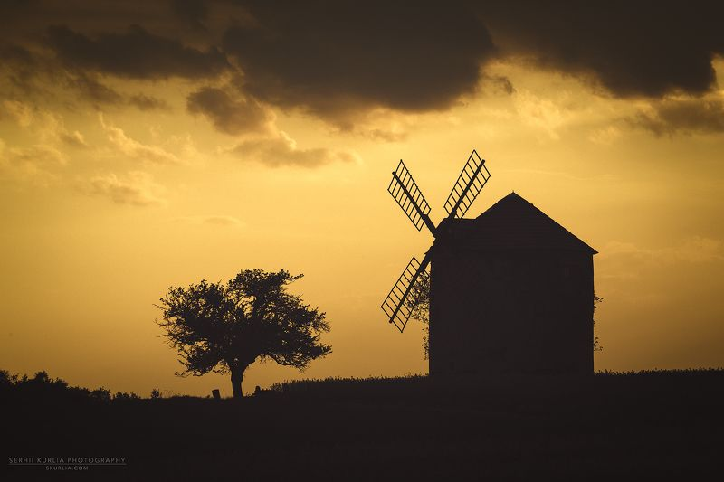 Moravia, silhouette, Czech, clouds, sunset, lights Windmill silhouettephoto preview