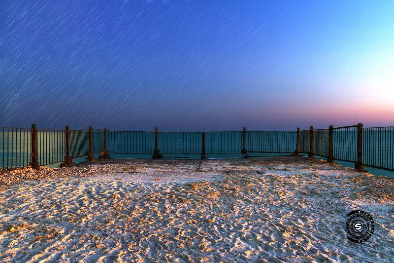 море, ограда, парапет, вечер, камни, песок, забор, небо, Вечерний пейзажик за парапетом...photo preview
