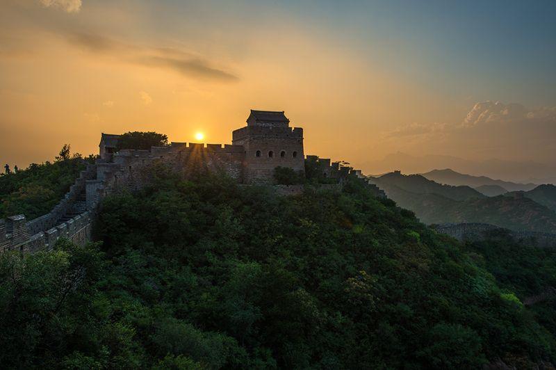 пейзаж, китай, китайская стена закат на великой китайской стенеphoto preview