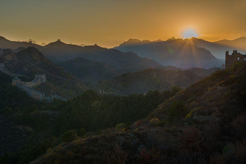 пейзаж, восход, китайская стена, китай, путешествия Sunshinephoto preview