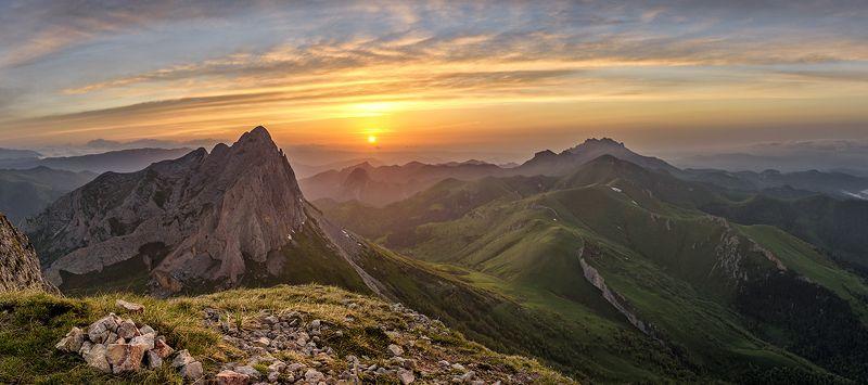 закат, большой тхач, малый тхач, асбестная, горы, пейзаж, рассвет, кавказ, адыгея, радуга, ачешбоки, На закатеphoto preview
