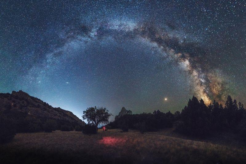 крым, ночь, звезды, звездный пейзаж, ночная съемка, горы, природа, млечный путь, астрофотография, астрофототур, отдых в крыму, путешествия, путешествия по крыму Звёздная бесконечностьphoto preview