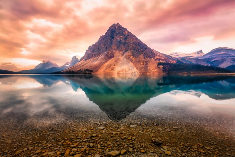 mountain, sunrise, water, lake, design, sunrise, Mountain Reflectionphoto preview