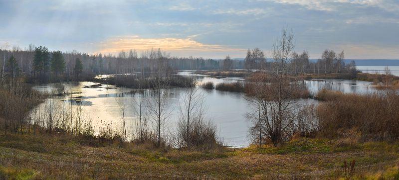 дымка, ноябрь, тишина, простор, озеро, тонкий лёд, небо, предзимье Предзимьеphoto preview