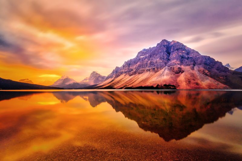 lake, mountain, sunrise, water, reflection, Bow Lake Sunrisephoto preview