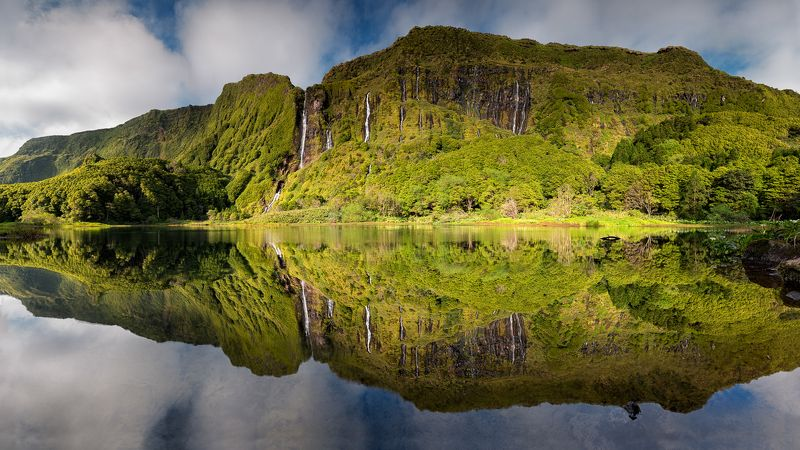 Azores, Island, Portugal, Ocean, Atlantic, Europe, Lagoadaspatas, Alagoinha, Reflexes, Mirror, Panoramic Dream Lagoonphoto preview