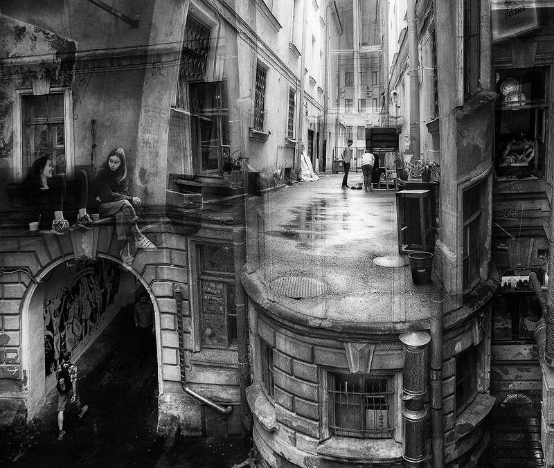 санкт-петербург, город, дворы, люди Дворы Питераphoto preview