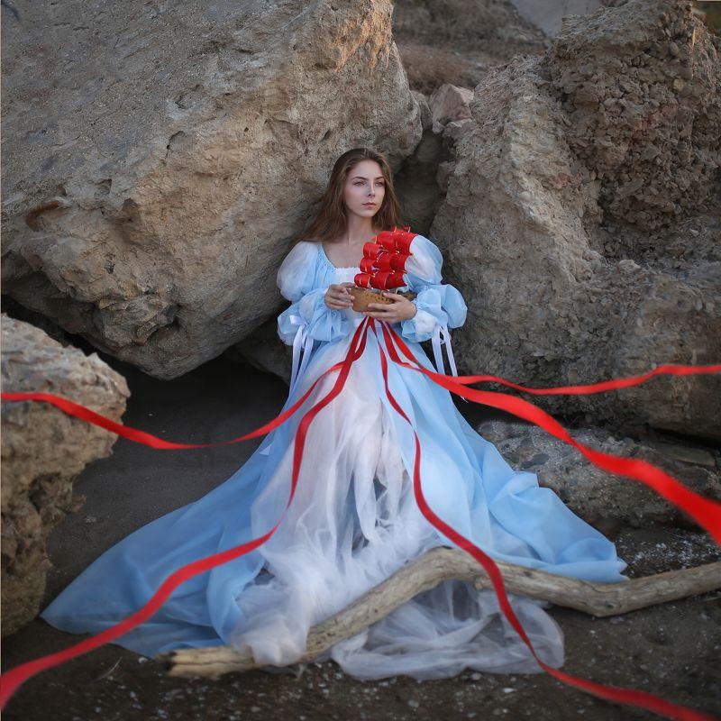 Ассоль, алые паруса, красные ленты, девушка в голубом платье Алые парусаphoto preview