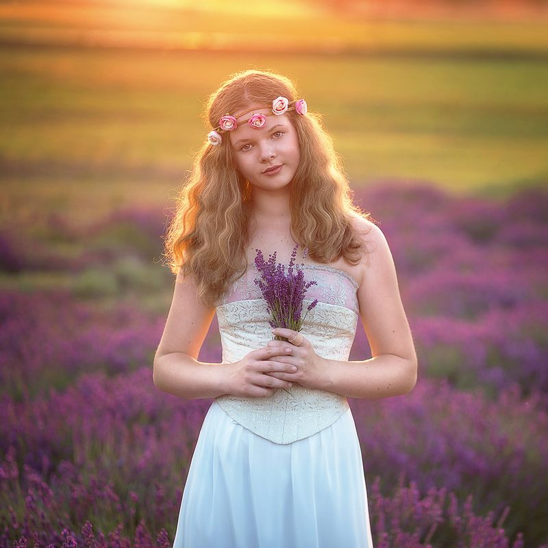 girl, lavender, field, sunset, light, summer, poland, romantic, sunlight,  Romantic girl on lavender fieldphoto preview