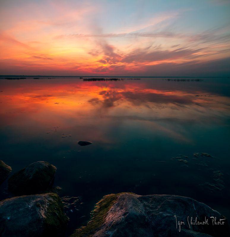 осень, закат, озеро, отражение, солнце, плещеево озеро, переславль залесский Плещеево озероphoto preview