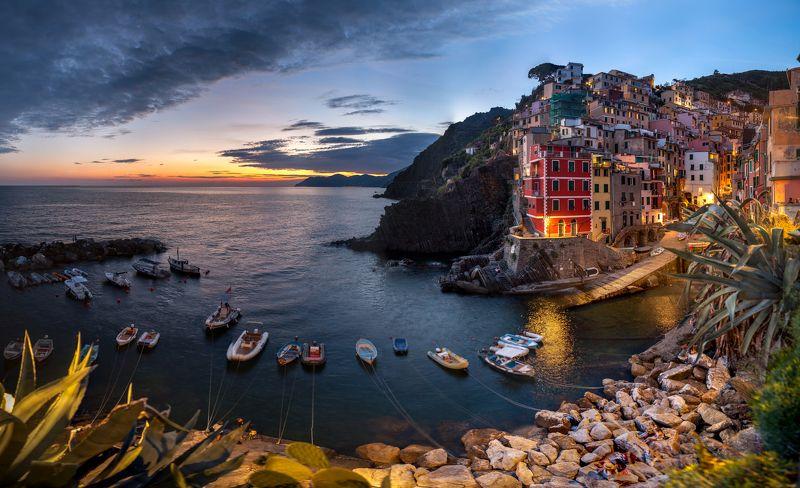 italy, liguria, landscape, sunset, Riomaggiorephoto preview