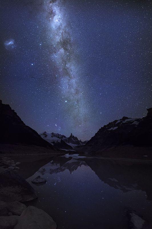 патагония, аргентина, ночь, звёзды, млечный путь, отражение, горы, серро торре Ночная тишинаphoto preview