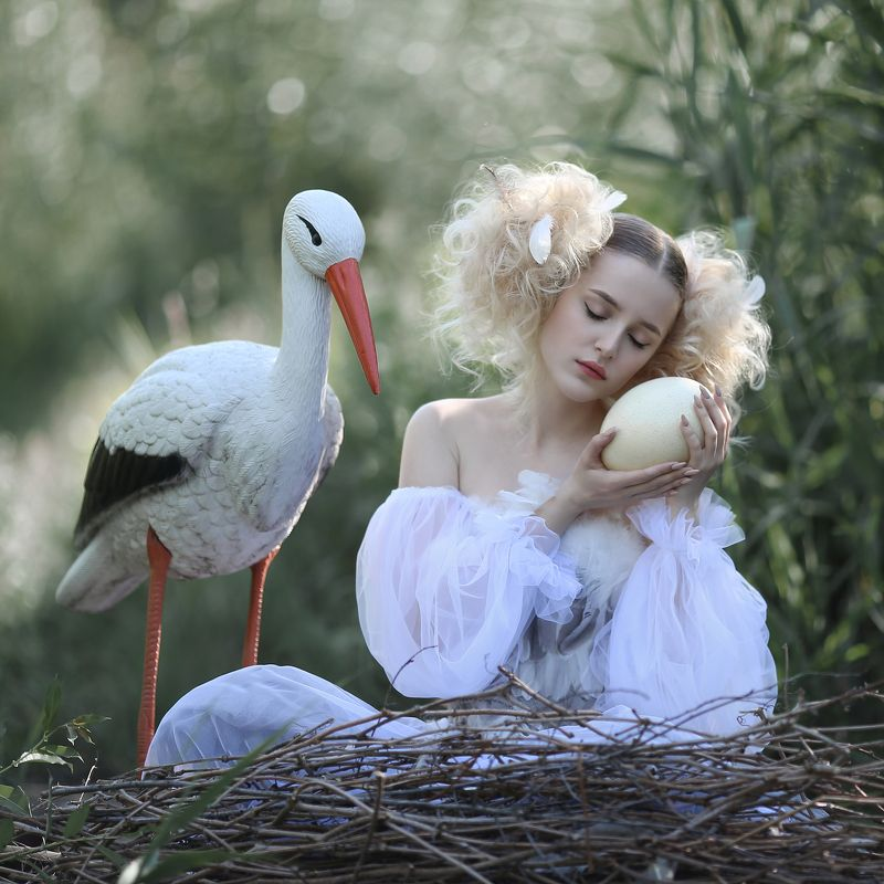птичка, аист, девушка в гнезде, девушка с аистом Птичкаphoto preview