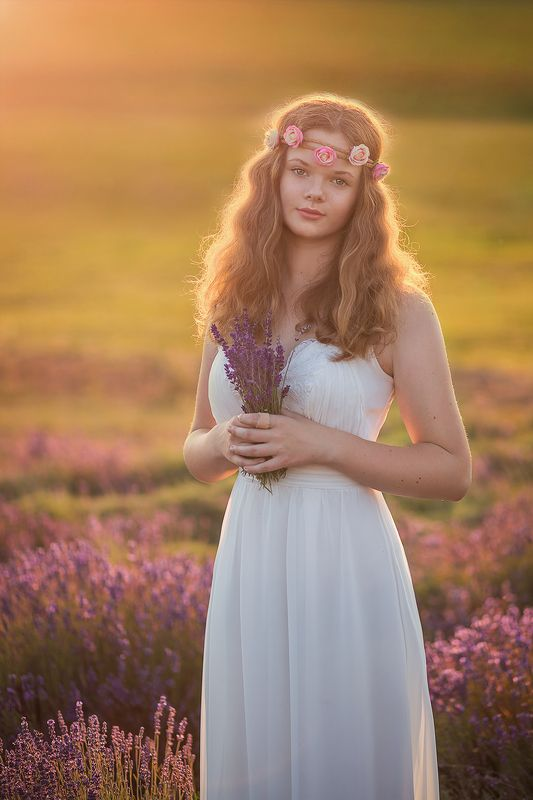 girl, lavender, field, sunset, light, summer, poland, romantic, sunlight,  Girl on lavender fieldphoto preview