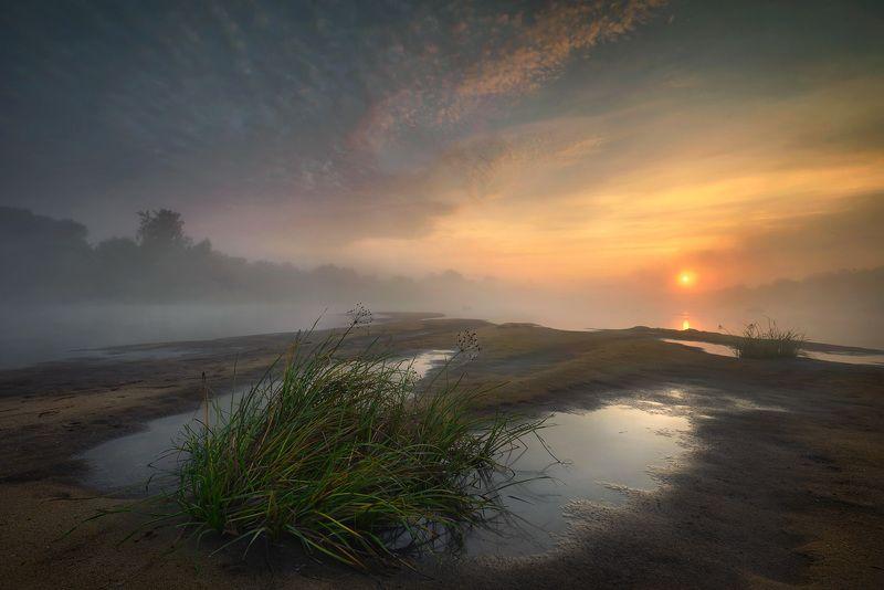пейзаж утро туман речка вода солнце небо / Утро на реке /photo preview
