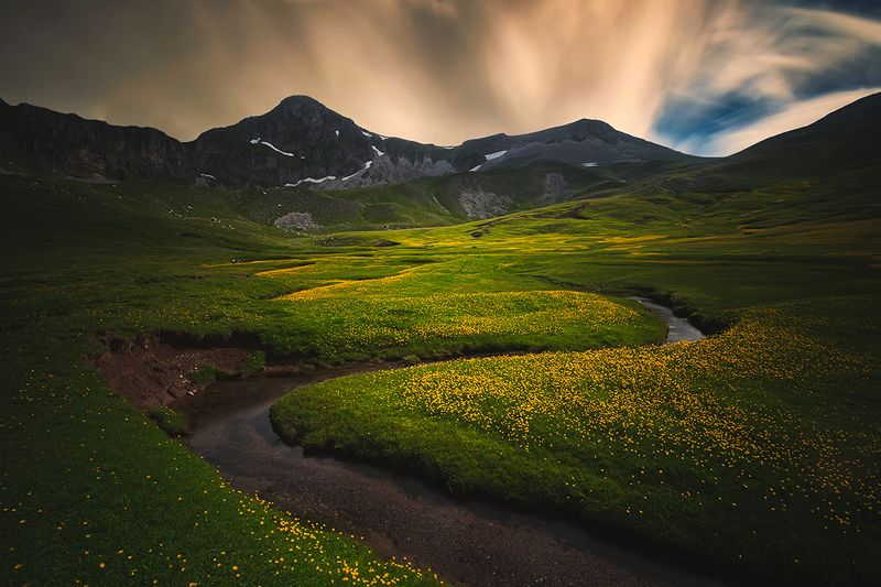 greece, long exposure, field, grass, sunset, valley, sky, mountain, clouds, flowers, landscape, beauty, nature, mountains, water, stream Verligaphoto preview