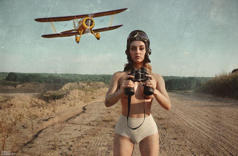 пилот, авиатор, летчик, девушка-летчик, ретро самолет, ретро фото, пинап, самолет, аэроплан Потому что мы пилотыphoto preview