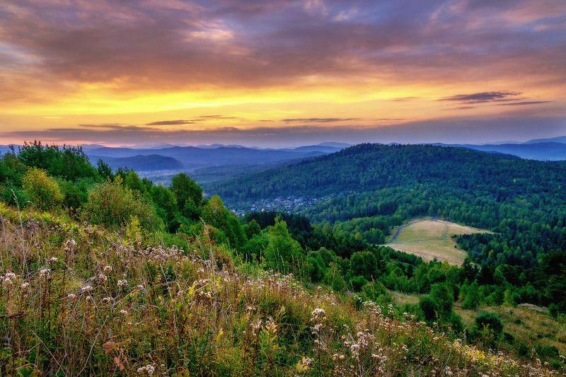пейзаж, восход, горы, облака  На восходе.photo preview