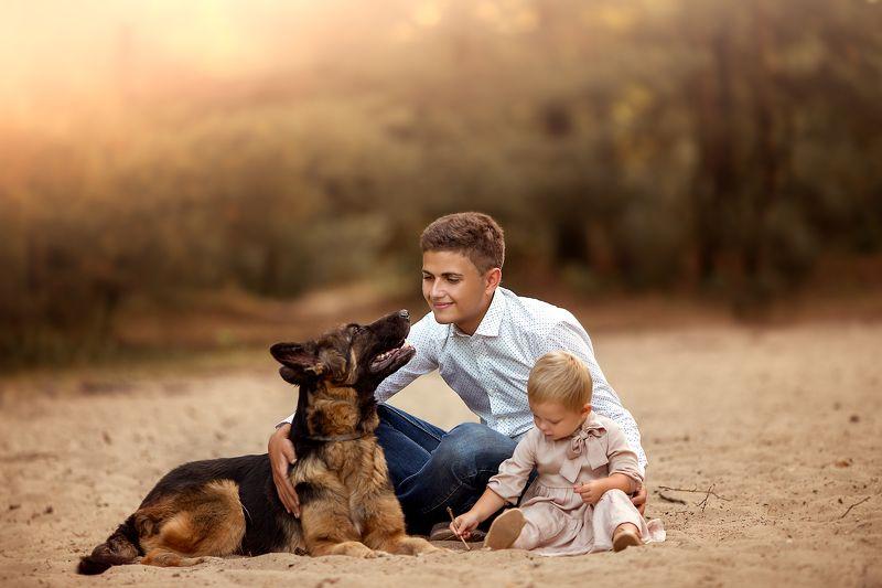 Брат, семья, дети, собака, дружба, лето photo preview