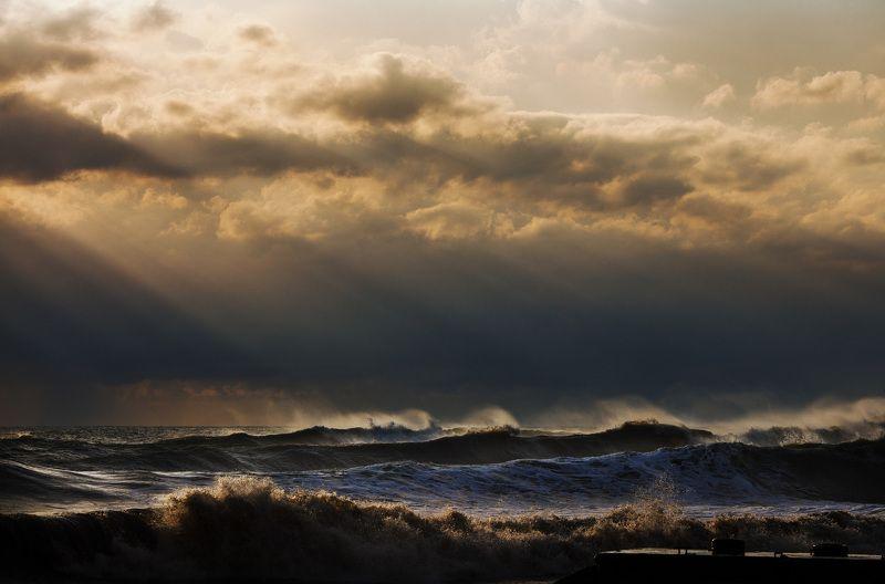 серфинг море сочи волны шторм закат photo preview