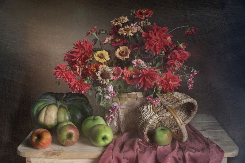 натюрморт,яблоко,тыква,осень,вера павлухина, Плоды осенниеphoto preview