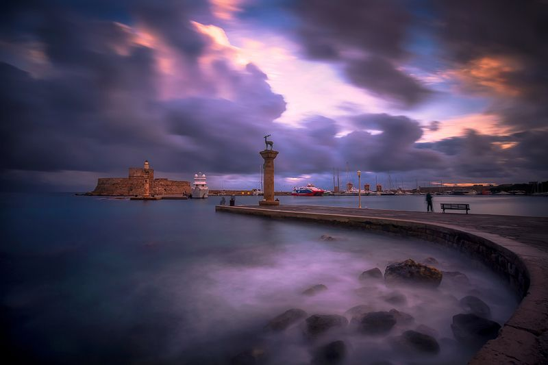greece, rhodes, island, long exposure, sea, aegean, sunrise, port, winter, water, aegean sea, town, blue, travel, light, architecture, reflection, old Rhodesphoto preview