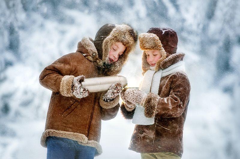 дети, детская фотосессия, зима photo preview
