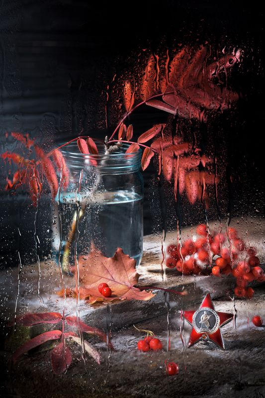 военный натюрморт, память, война, орден, красная звезда, рябина, изморозь, листья клена, настроение От героев былых времён (отцам и дедам, ушедшим в Осень...)photo preview
