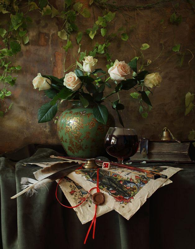 натюрморт, свет, цветы, розы, книги Натюрморт с розамиphoto preview