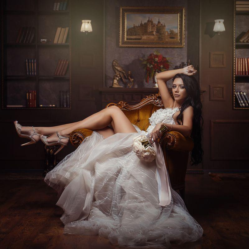портрет красиваядевушка невеста студия ноги красивая невестаphoto preview