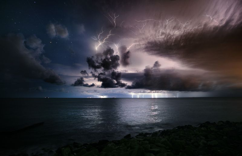 море циклон молнии шторм сочи природа пейзаж photo preview