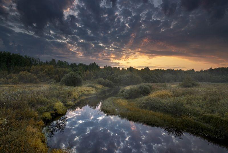 Осень, рассвет, река Начало осени. Рассвет на реке Пуя. Архангельская область. photo preview