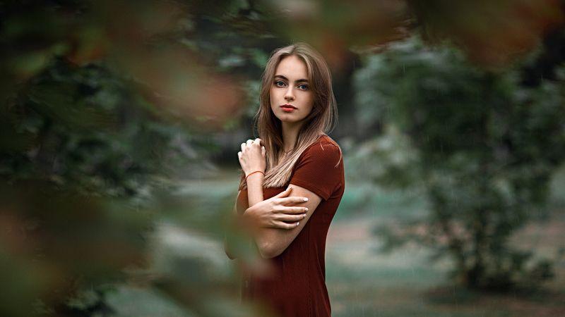 девушка, город, вечер, портрет, дождь Rainyphoto preview