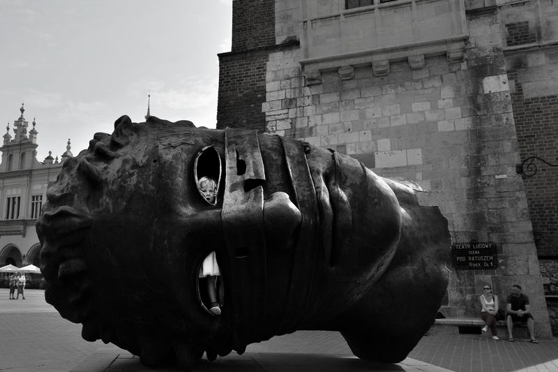 #krakow #travel #black and white #street #art #city The Maskphoto preview