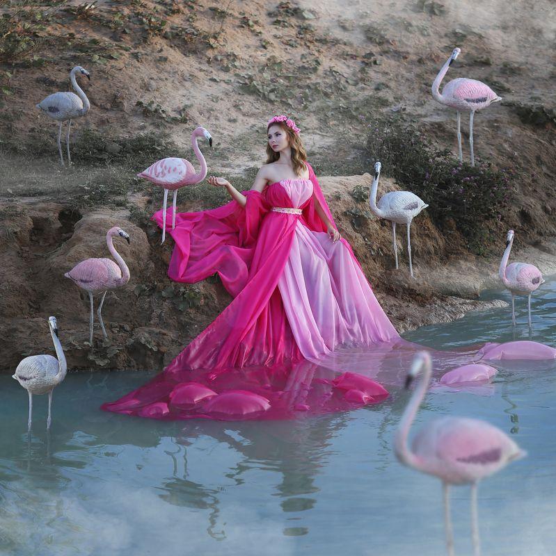 фламинго, розовый фламинго, девушка с фламинго Фламингоphoto preview