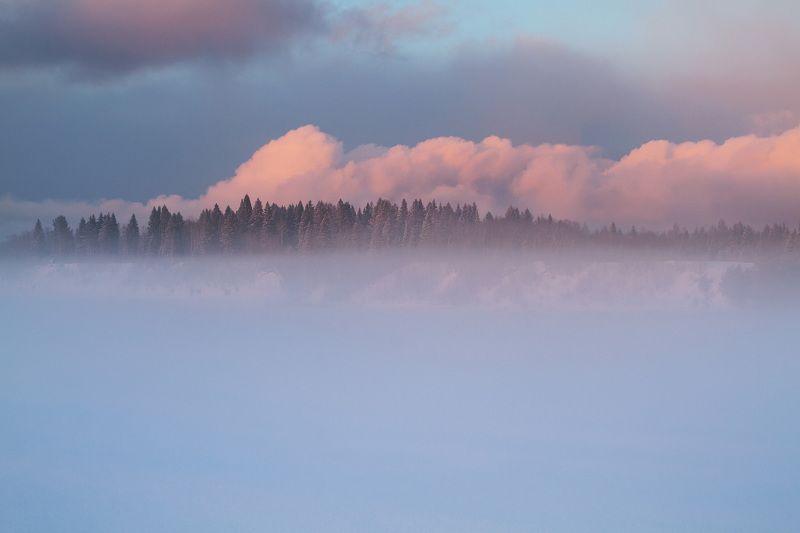 туман, зима, снег, река, закат, вечер, мороз Туманные далиphoto preview