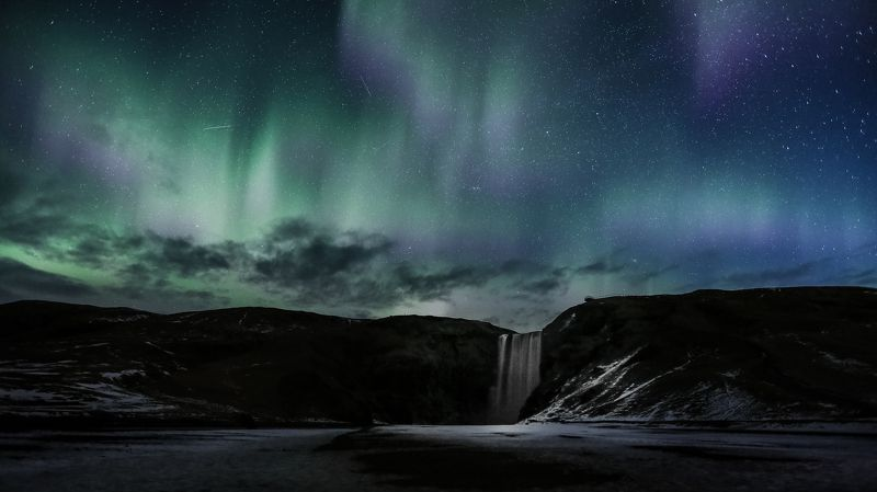 водопад,skogafoss,исландия,пейзаж,северное сияние Skogafossphoto preview