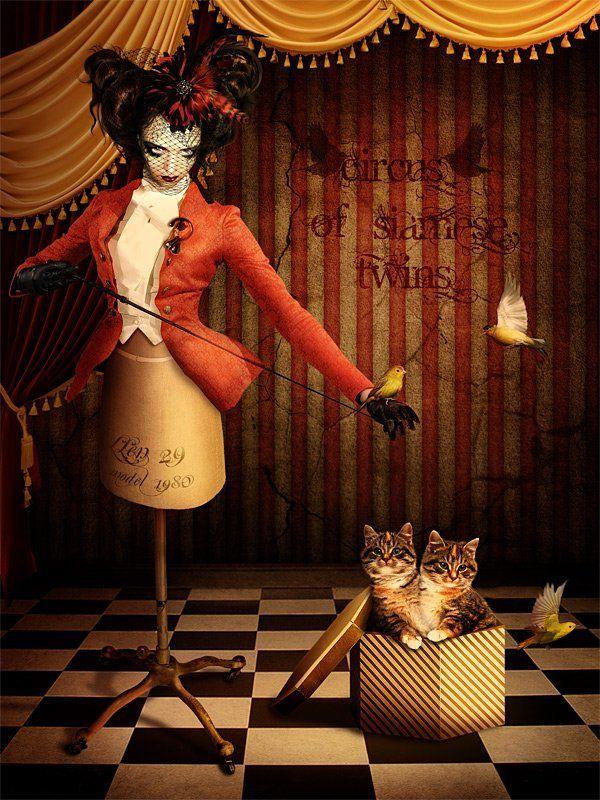 коллаж, фотоарт, фотошоп, манекен Цирк сиамских близнецов. Из жизни одного манекенаphoto preview