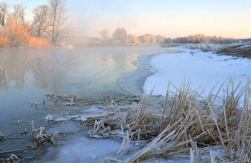 зима, утро, мороз, река морозное утроphoto preview