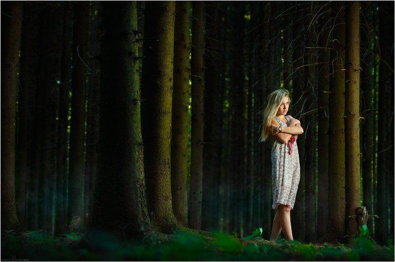 ели, лес, девушка ***photo preview