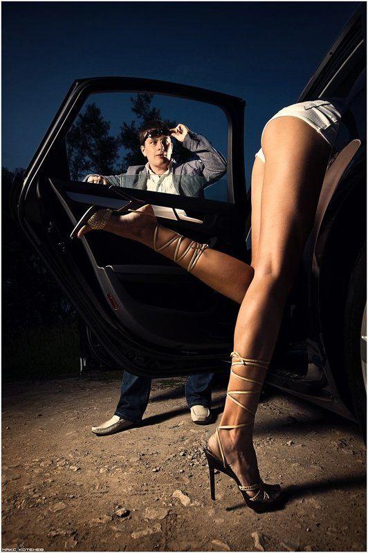 вечер, девушка, сигара, автомобиль ***photo preview