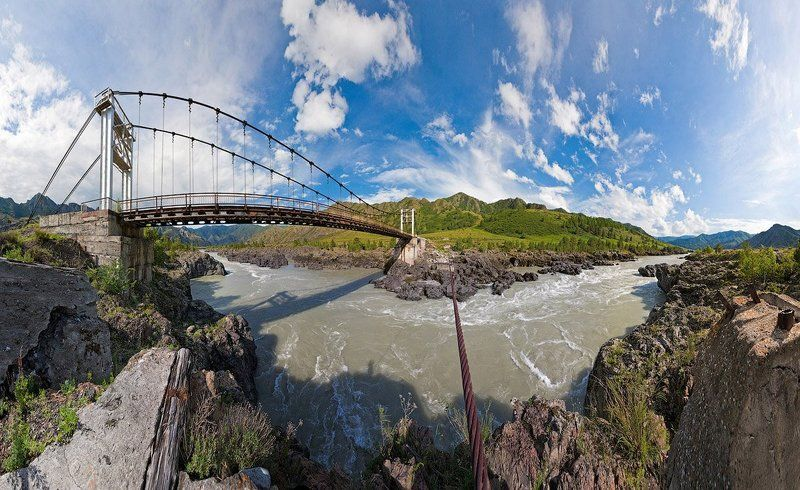 река, вода, камни, мост, стальной, трос Ороктойский мостphoto preview