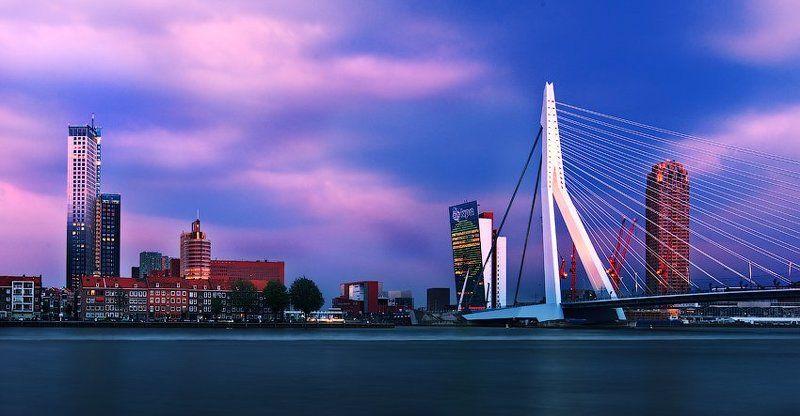 роттердам, голландия, нидерланды, мост, здания Малиновый закат.photo preview