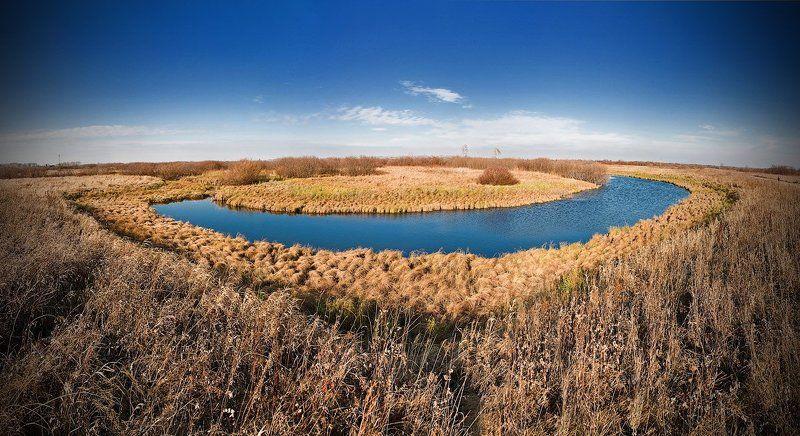 вода, небо, трава, желтое, горизонт Полуостровphoto preview
