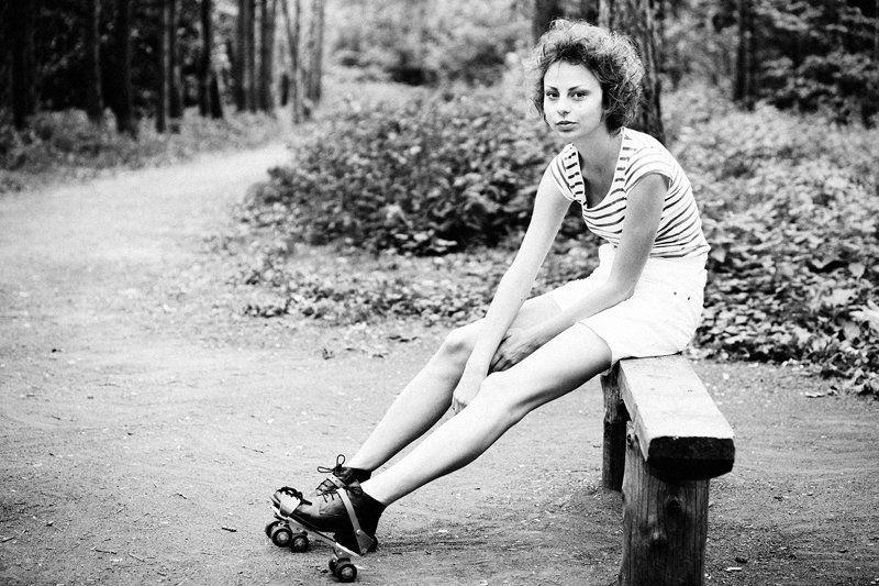 роллики, девушка, ретро, парк Roller Skatesphoto preview