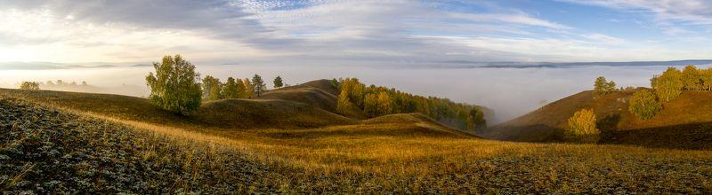панорама, рассвет, восход, заря, туман, горы, урал Южный Уралphoto preview