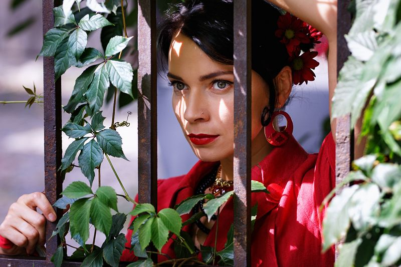 girl, dance, flamenco, spain, fan, black and red, wine, grapes, sangria, theater, actress In golden cagephoto preview