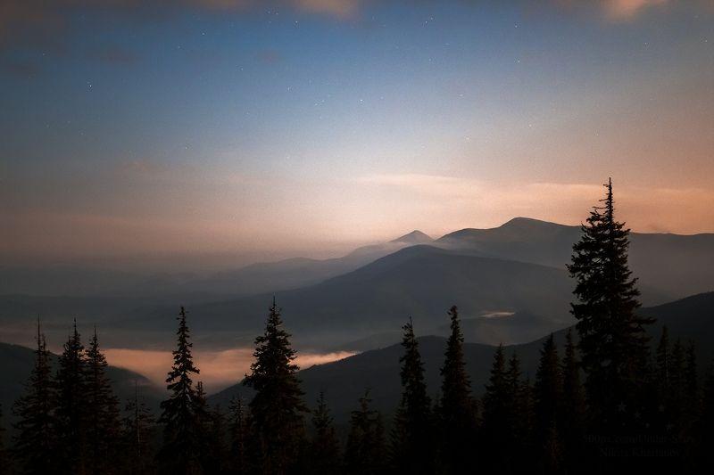 драгобрат, горы, ночь, звезды, рассвет, сумерки, карпаты, облака, лес Нежное прощание со звездамиphoto preview