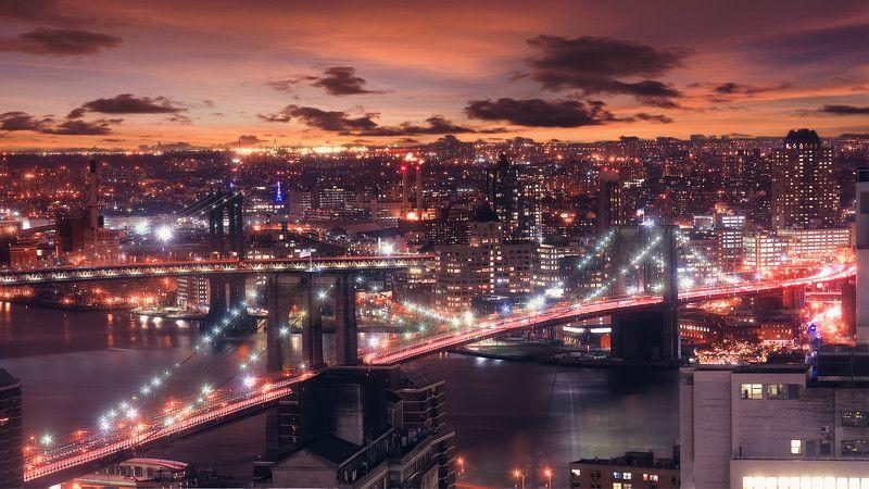 cityscape, night, urban skyline, bridge - man made structure, famous place, usa, city, river, urban scene, architecture, new york city, downtown district, dusk, manhattan - new york city, sunset, brooklyn bridge, illuminated, brooklyn - new york, built st Brooklyn Bridge at Duskphoto preview